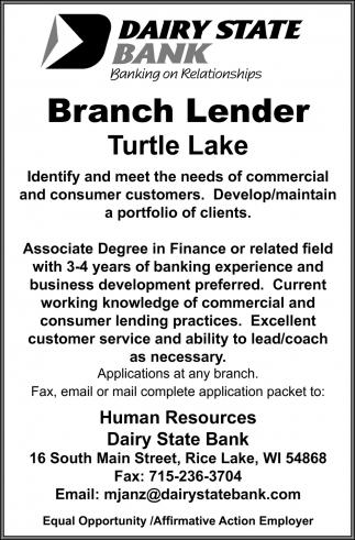 Branch Lender