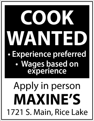 Cook Wanted