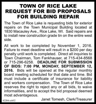 REQUEST FOR BID PROPOSALS FOR BUILDING REPAIR