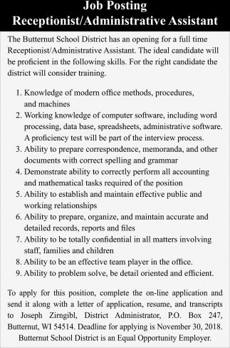 Recepcionist/Administrative Assistant