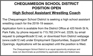 Position Open High School Assistant Wrestling Coach