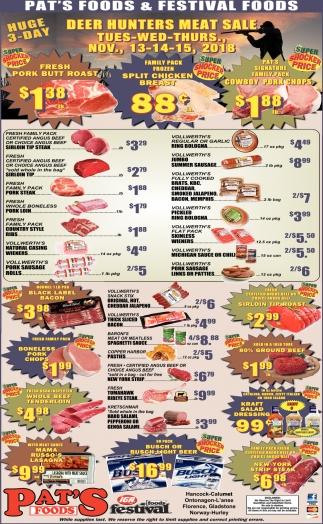 Deer Hunter Meat Sale
