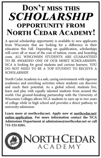 Don't miss this scholarship opportunity from North Cedar Academy!