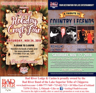 A Tribute to Country Legends/Holiday Craft Fair
