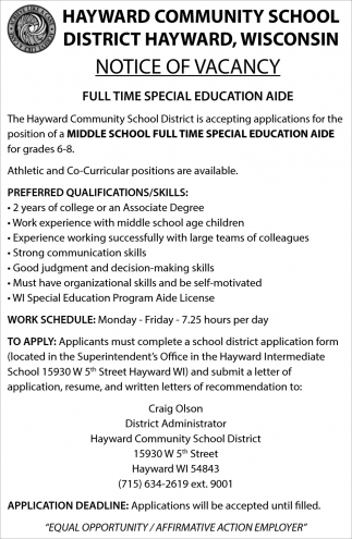 Middle School Full Time Special Education Aide
