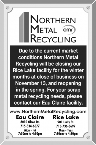 Notice of Closing Rice Lake Facility for Winter Months