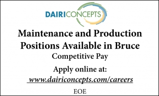 Maintenance and Production Positions Available in Bruce