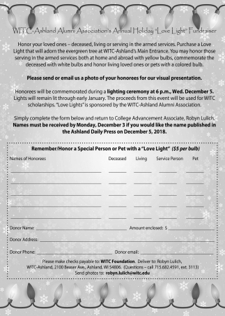Annual Holiday Love Light Fundraiser