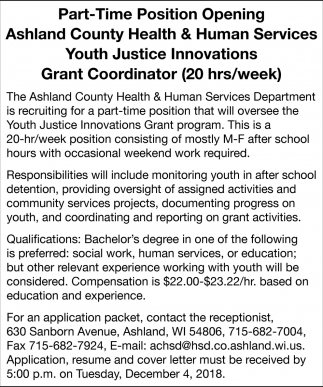 Youth Justice Innovations Grant Coordinator