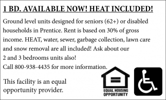 1 BD , Ground Level Units, Now Renting!