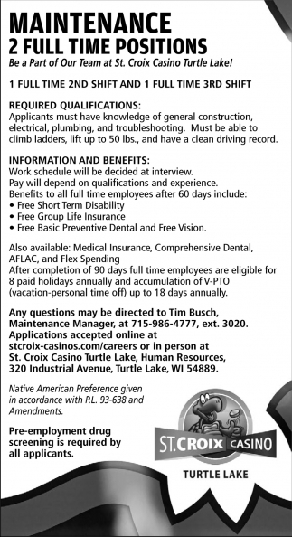 Maintenance 2 Full Time Positions