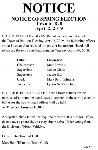 Notice: Spring Election