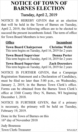 Notice of Town of Barnes Election