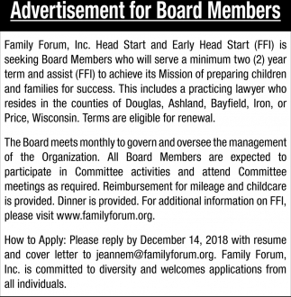 Advertisement for Board Members