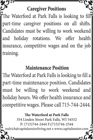 Caregiver Positions / Maintenance Position