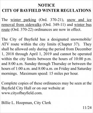 Notice City of Bayfield Winter Regulations