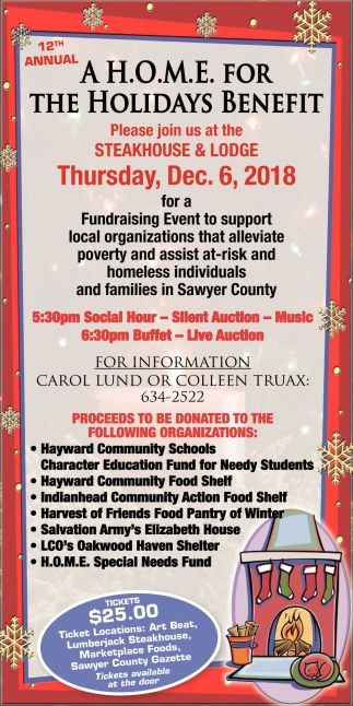 12th Annual A H O M E For The Holidays Benefit The Steakhouse And