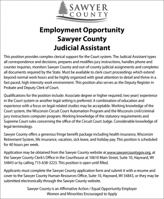 Employment Opportunity: Judicial Assistant