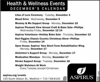 Heath & Wellness Events/December's Calendar