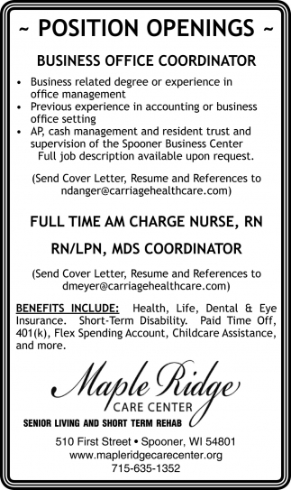 Position Openings - Business Office Coordinator, Maple Ridge Care ...
