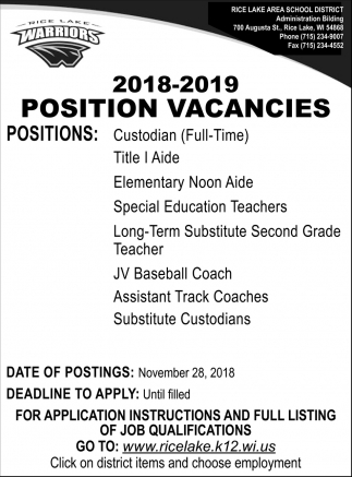 2018-2019 Position Vacancies