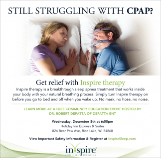 Inspire Therapy at a Free Community Education Event with Dr. Robert Defatta