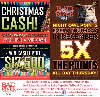 Christmas Cash/Night Owl Points