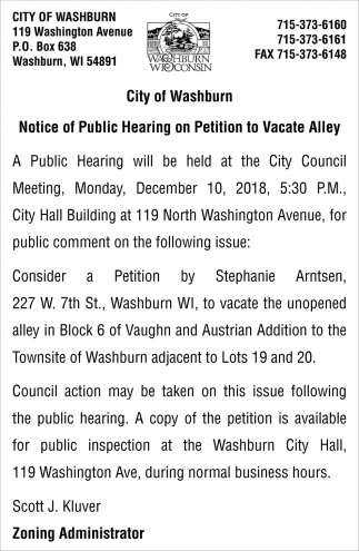 Notice of Public Hearing on Petition to Vacate Alley
