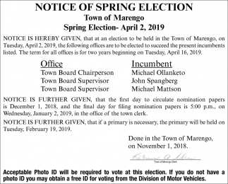 Notice og Spring Election