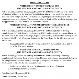Time Correction / Notice of 2019 Budget Hearing
