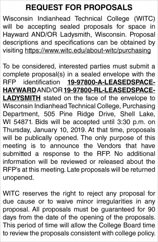 Request for Proposals for Space in Hayward and/or Ladysmith