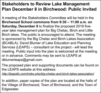 Stakeholders to Review Lake Management Plan December 8 in Birchwood: Public Invited