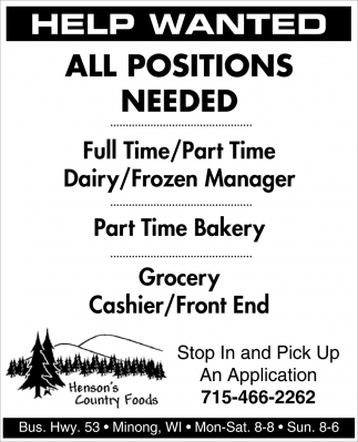 Help Wanted / All Positions Needed