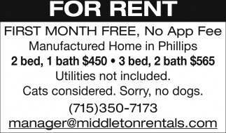 For Rent, First Month Free, No App Fee