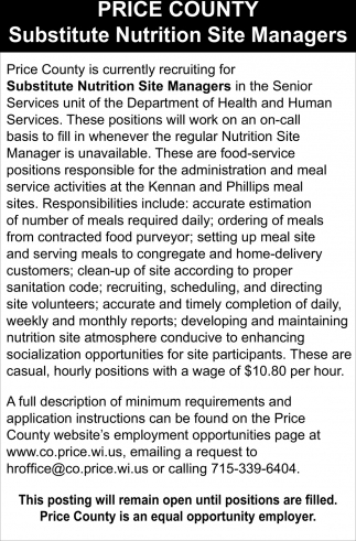 Recruiting for Substitute Nutrition Site Managers