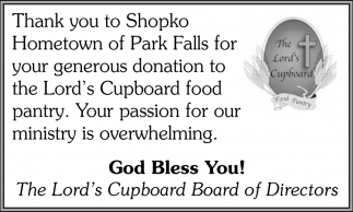 Thank You to Shopko Hometown of Park Falls