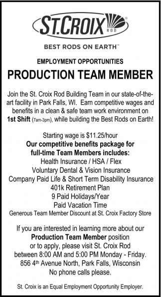 Employment Opportunities: Production Team Member