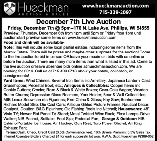 December 7th Live Auction