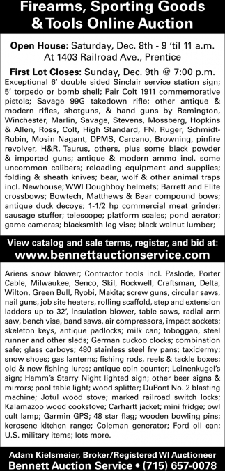 Firearms, Sporting Goods / Tools Online Auction