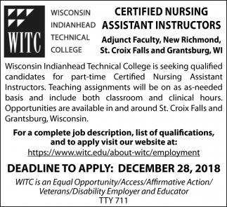 Part-Time Certified Nursing Assistant Instructors