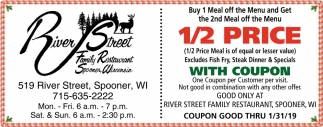 1/2 Price Meal With Coupon