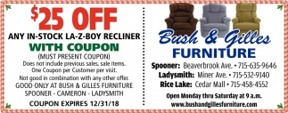 $25 Off Any in-Stock La-Z-Boy Recliner with Coupon