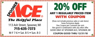 20% Off Any 1 Regularly Priced Item With Coupon