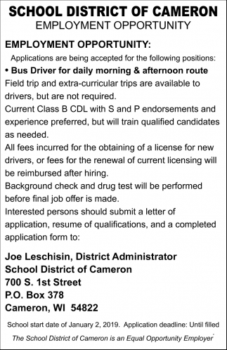 Employment Opportunity: Bus Driver
