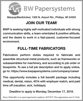 Join Our Team! Full-Time Fabricators