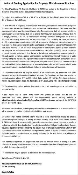 Notice of Pending Application for Proposed Miscellaneous Structure