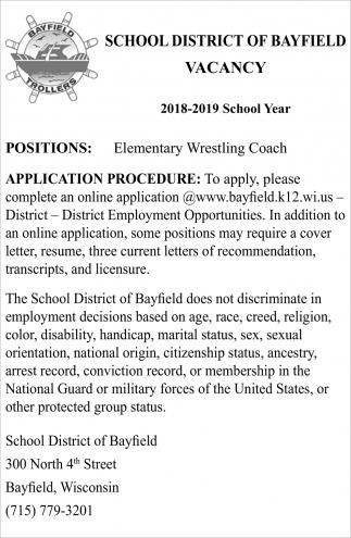 Vacancy: Elementary Wrestling Coach