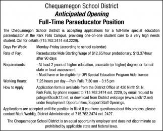 Full-time Paraeducator Position