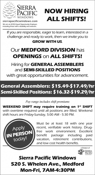 Now Hiring All  Shifts