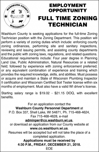Employment Opportunity: Full Time Zoning Technician